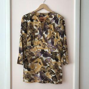 Tory Burch Butterfly Print V-Neck Silk Tunic